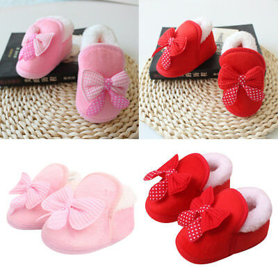 Newborn Baby Girls Toddler Soft Bowknot Boots Crib Sole Shoes Prewalker Booties
