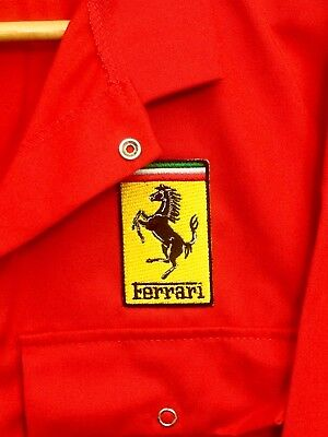 "Top Quality Classic Ferrari Badge Red Mechanic Polycotton Overalls 41""T Chest"