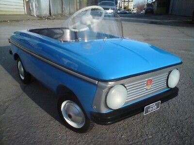 70's Fully Restored MOSKVITCH Child Kids Blue Metal Pedal Car USSR Soviet Russia