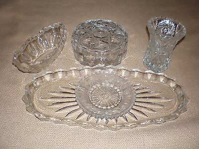 Vintage glass dressing table ornaments 4 pieces trinket jar vase dish all in VGC