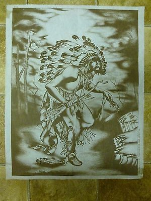 Vtg Hobbytex Preshaded Paint To Print Indian Brave no Instructions (1984) 63x50
