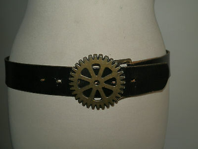 Vintage 1990's Leather Iibex Of England Belt Superb Buckle Hippy Festival Chic