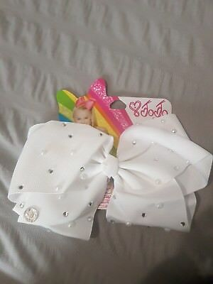 large white jojo siwa bow with pearl and diamante detail