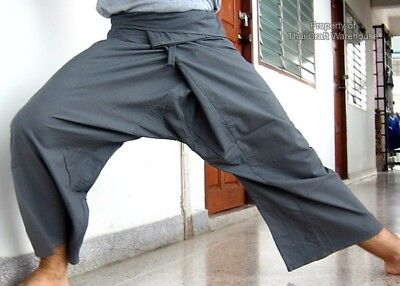 Thin Cotton Slate Grey Thai Fishermans Pants - Yoga sz M