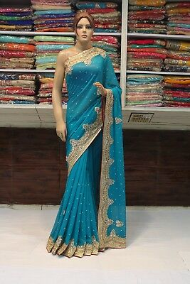 Bollywood Indian Ethnic Hand Crafted Heavy Blouse Saree Sari Bridal Party Dress