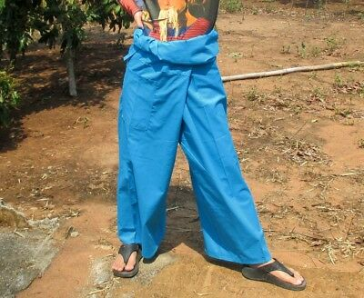 Fisherman Pants Thin Cotton Long Yoga Casual Wear Thai In Azure Blue sz XXL