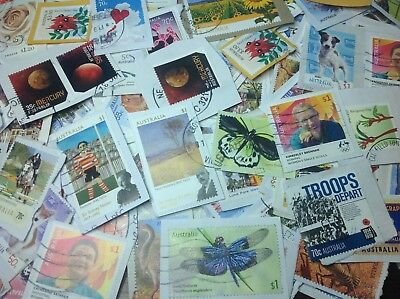 KILOWARE AUST. SHEET STAMPS x 1000+ ON TRIMMED PAPERS, SOME UNFRANKED.