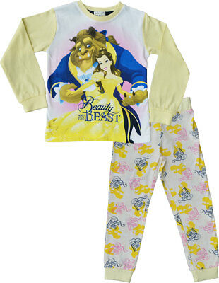 Beauty And The Beast Pyjamas Girls Disney Long PJ Set Ages 2 - 9 Years