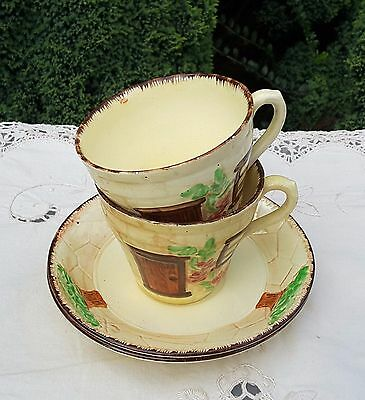 BURLINGTON WARE 'DEVON COBB' CUPS AND SAUCERS [x 2]