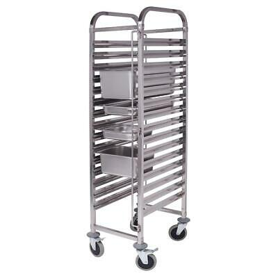SOGA 16 Tier Stainless Steel Gastronorm Bakery Trolley Suits GN 1/1 Pans Only