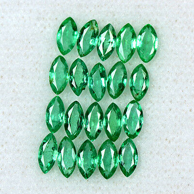 2.69 Cts Natural Emerald Loose Gemstone 5x2.5 mm Fine Marquise Cut 20 Pcs Zambia