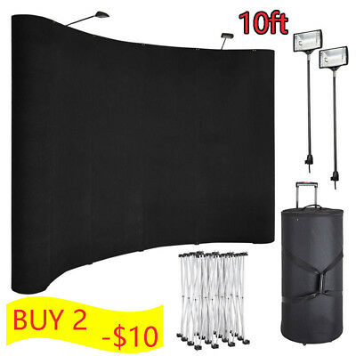 10 feet Portable Display Trade Show Booth Exhibit Black Pop Up Kit Spotlights