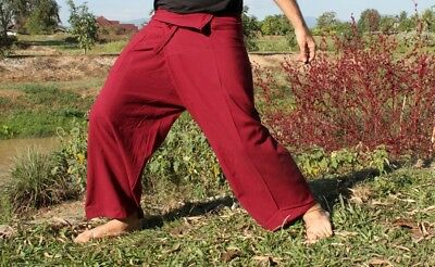 Aum Cotton Fisherman Pants Quality Casual Every Day In Auburn Red sz S Tall