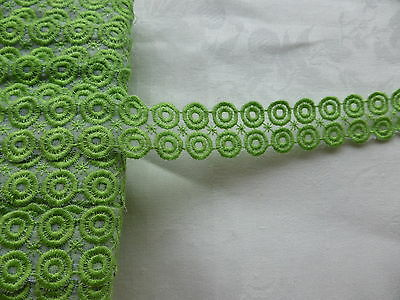 HABERDASHERY OLD-STRIPE RIBBON Decor WHEELS GREEN POMME-Larg.2,3cm/In the m