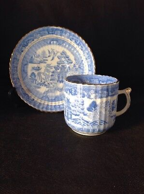 Vintage Willow Pattern Cup And Saucer