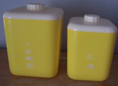 Lot Of 2 Vintage Lustro Ware Yellow Plastic Canisters - Coffee And Tea