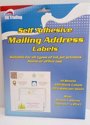Self Adhesive Mailing Address Label 14 Sheets, 420 Labels