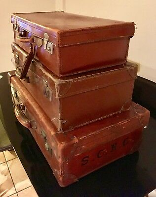 3x Vintage Brown Suitcases, small and large sizes real leather interior design