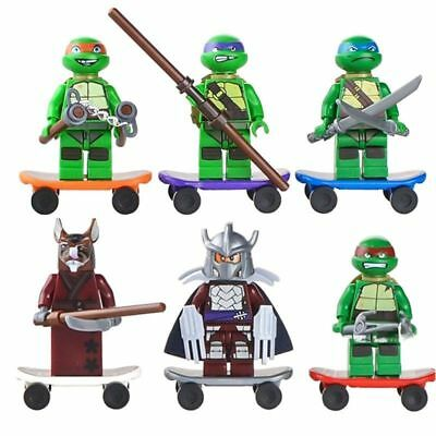 6 mini figurines super heros tortues ninja + skateboards compatible lego