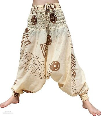 Cotton Pants Mao Smock Very Art Printed Cream sz L