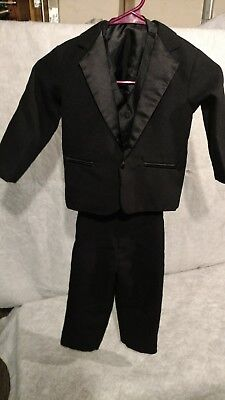 Size 4T Toddler Boys 3-Piece Black Suit, Wedding Special Occasion