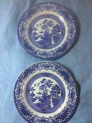 Old Willow English Ironstone Pottery blue and white side plates