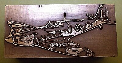 """Royal Air Force """"ww2 Spitfire"""" Fighter Plane Printing Block."""