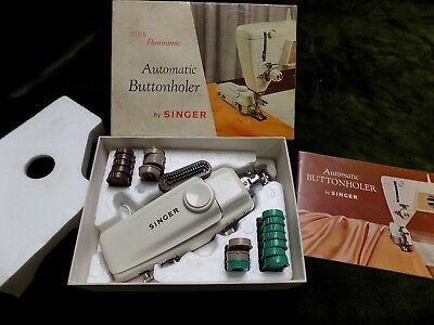 Vintage Boxed Singer Golden Panoramic Automatic Buttonholer 161900