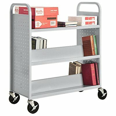 "Sandusky Lee SV336-05 Double Sided Sloped Shelf Welded Book Truck 19"" Length ..."