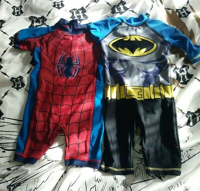 2 boys sun suits swimming costumes batman spiderman 2-3 years