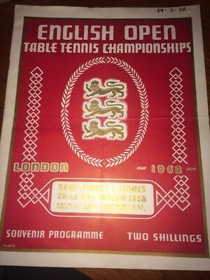 English Open Table Tennis Championships London 1958