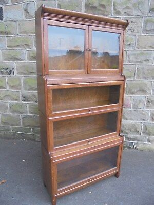 Antique English Oak Stacking Solicitors Bookcase By Gunn