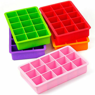 15 Frame CUBED ICE Maker Cube Square Tray Molds Whiskey Ball Cocktails Silicone