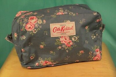 Cath Kidston Blue Wash Bag With Pink Flowers