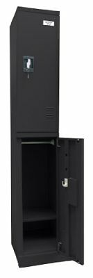 "Sandusky Lee KDCL7212/2-09 Black Powder Coat Steel SnapIt 2-Tier Locker 72"" H..."