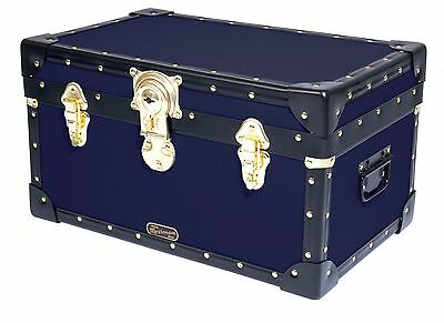 NAVY Traditional British Mossman Made Boarding School Tuck Box Storage Trunk