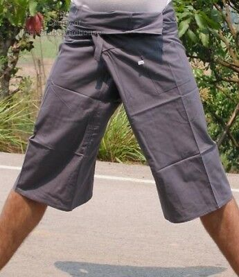 Capri Leg Thin Thai Cotton SLATE GRAY Fisherman Pants sz XXL