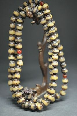 Chinese nature Tibet old diamond Bodhi and red coral beads pray mm15