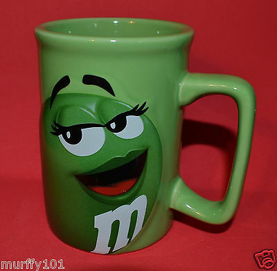 VINTAGE RARE Collectible Green LADY M&M Character Coffee Cup Mug Raised Pattern