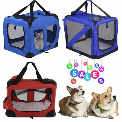 Extra Dog Cat Fabric Portable Carrier Folding Crate Cage Pet Travel Bag S/m/l/xl