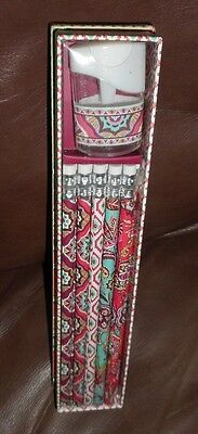 Vera Bradley CALL ME CORAL 10 Pencil & Sharpener Box Gift Set NEW PENCIL BOX