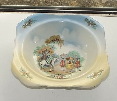 1920s Lancaster & Sons Ltd Series Ware Serving Bowl 22cm sq Lady in Sedan Chair