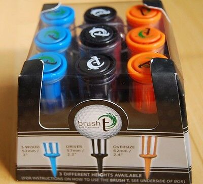 BRUSH T PERFORMANCE GOLF TEES - 3 sizes, 3 of each total 9 in Pack