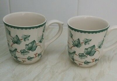 2 x Coffee / Tea MUGS bhs country vine Ivy leaf Pattern Excellent Condition