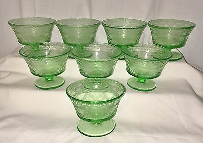 """8 Federal PATRICIAN GREEN *2 3/4"""" SHERBETS*"""