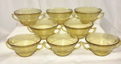 """8 Federal PATRICIAN AMBER * 4 3/4"""" CREAM SOUP BOWLS*"""