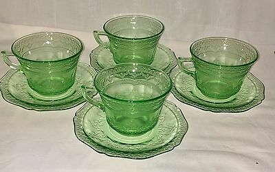 4 Federal PATRICIAN GREEN *CUPS & SAUCERS*