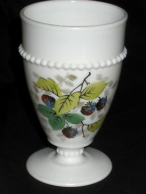 "Westmoreland BEADED EDGE FRUITS RASPBERRIES *5"" 8oz FOOTED TUMBLER*"