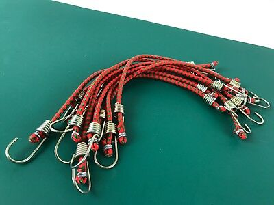 "Mini Bungee Cords 10 x 10"" Elastic Strap Trailer Bungees Bungy Hook"