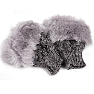 Lady Shaggy Faux Fur Knit Fluffy Hands Boot Covers Gloves BG D3M6